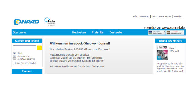 eBooks bei Conrad.de, in Kooperation mit Ciando