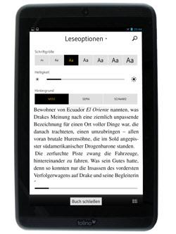 Tolino Tab 7: geöffnetes eBook mit Leseoptionen