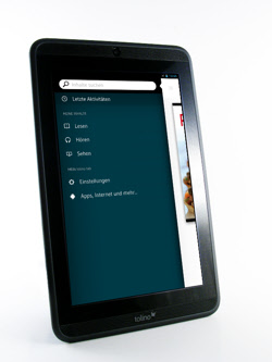 Tolono Tab 7- Tolino App mit Menüleiste