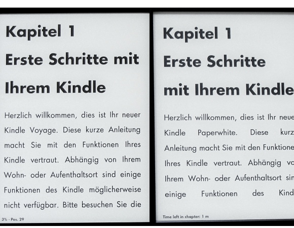 Kindle Paperwhite und Kindle Voyage - Vergleich Display