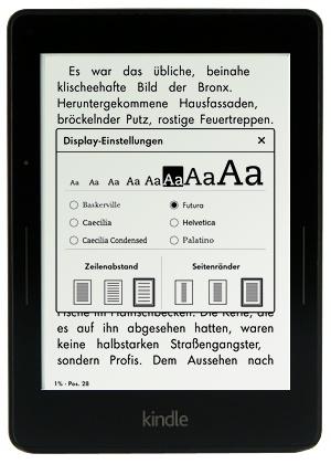 Kindle Voyage - Auswahl der Schriftart und Schriftgrößße