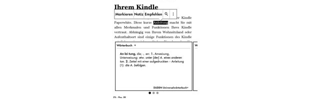 Kindle Paperwhite 3: Software Änderungen, Notizen im eigenen Kontextmenü