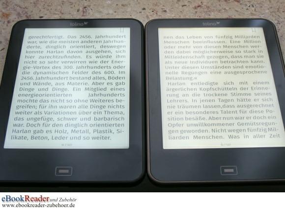 tolino vision Screen Vergleich