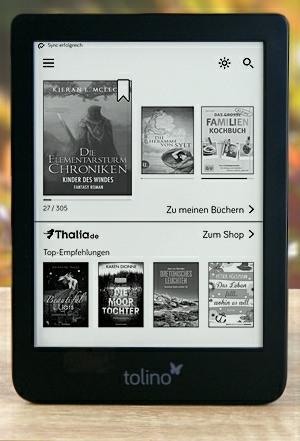 tolino shine 3 Startseite mit gestochen scharfem e Ink Carta Display