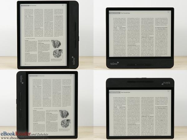 tolino epos 2 - Lesen im Hoch- und Querformat, auch für Linkshänder mit 90° und 180° Rotation dank Lagesensor